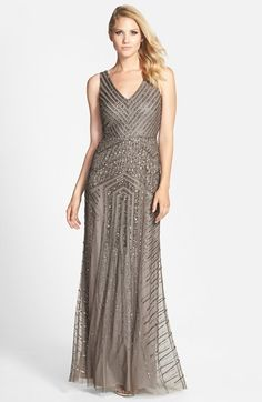 Gunmetal gray sequin gown | Adrianna Papell Beaded Mesh V-Neck A-Line Gown