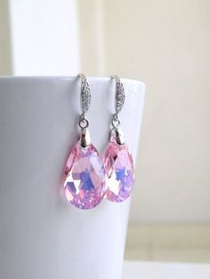 Pink Swarovski Crystal Earrings Teardrop Sterling CZ by SomsStudio, $25.00