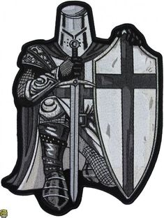 ... Patches Crusader Kneeling Knight Black White Large Back Patch
