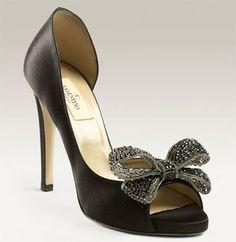 Valentino Jeweled Satin D'Orsay Bow Heels
