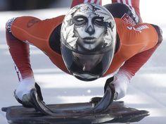 PIC:  Skulls and Bones: The helmets of Canadian skeleton athletes