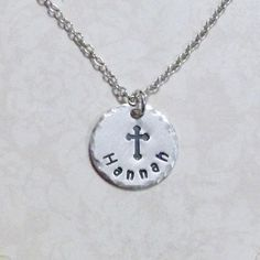 Name with Cross Necklace - Cross Hand Stamped Sterling Silver Charm Necklace - Personalized Cross Necklace by DolphinMoonCreations #etsyjewelry #crossnecklace