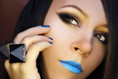 blue lipstick | is lovely. What a great example of how to wear blue lipstick and blue ...