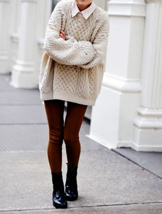 Batwing Puff Sleeve Ginger Jumpers Beige Sweater with leather ...