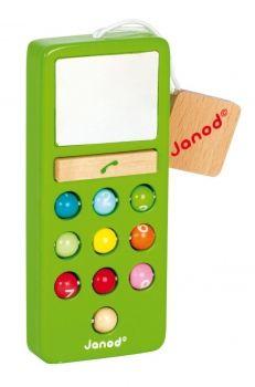 Holz Handy mit Ton von Janod, gibt es in verschiedenen Farben.