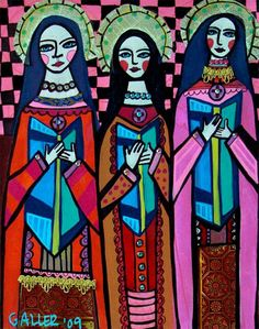Note the color and the hands, very angular-   GORGEOUS!! Mexican Folk Art