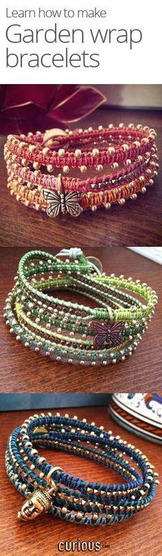 Diy Jewelry Ideas : How to Make a Garden Wrap Bracelet -Read More – Armband Tutorial, Wrap Bracelet Tutorial, Jewelry Crafts, Handmade Jewelry, Bracelet Crafts, Jewelry Ideas, Diy Schmuck, Bijoux Diy, Macrame Jewelry