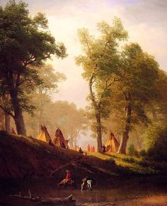 The Wolf River - Kansas By Albert Bierstadt of The Hudson River School. Kansas, Albert Bierstadt Paintings, Hudson River School Paintings, Munier, Art Reproductions, American Artists, Wolf, Les Oeuvres, Landscape Paintings