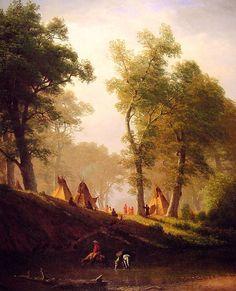 The Wolf River - Kansas By Albert Bierstadt of The Hudson River School. Kansas, Native American Art, American Artists, Albert Bierstadt Paintings, Munier, Poster Prints, Art Prints, Mountain Man, Art Reproductions