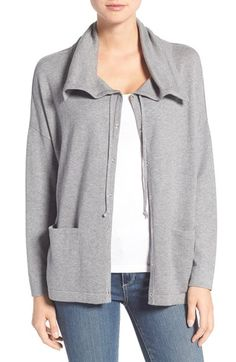 Free shipping and returns on Eileen Fisher Drawstring Collar Organic Cotton Sweater Jacket at Nordstrom.com. A spread collar, cinched with drawstring ties, makes a cozy start to a drop-shoulder jacket knit from fine-gauge Peruvian cotton. A snap-front placket enhances the sporty feel.