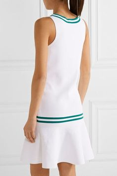L'Etoile Sport - Striped Stretch-knit Tennis Dress - White - x small