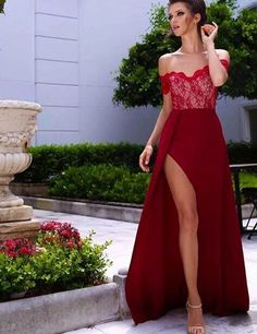 Burgundy A-Line Off-the-Shoulder Sleeveless High Side Split Lace Long Prom Dress,PD969
