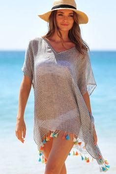 Seafolly Ocean Rose Fine Stripe Kaftan – Black – Seafolly Ocean Rose – Fine Strip too from too Trendy Swimwear, Swimwear Brands, Beach Kaftan, Hijab Style, Beach Cover Ups, High Cut Bikini, Seafolly, Stripes Fashion, Beachwear For Women