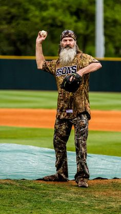 Phil Robertson throwing the first pitch at David Lipscomb Bisons baseball game. 4/27/13