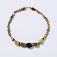 Necklace  ,200 BC-100 BC  Maker:  Unknown ,   Gold, emerald and garnet
