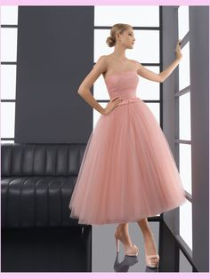 Blush pink strapless tulle party dress, bridesmaid dress