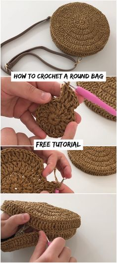 Crochet handbags 781304235337503389 - How To Crochet A Round Bag Free Tutorial Crochetopedia Source by Mode Crochet, Diy Crochet, Crochet Crafts, Crochet Projects, Crochet Bag Tutorials, Crochet Men, Knitting Projects, Sewing Projects, Crochet Handbags