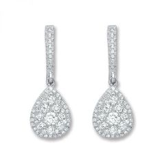 18ct White Gold 0.75ct Diamond Drop Earrings