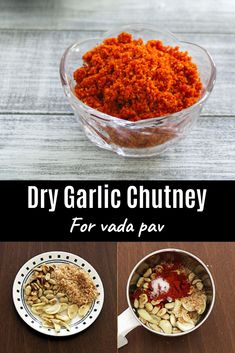Garlic chutney recipe for vada pav with step by step photos – This is dry garlic chutney made with garlic cloves, dry coconut, peanuts and red chili powder. It is also known as vada pav chutney. Apart from using this into vada pav, this can be used many w Garlic Recipes, Veg Recipes, Vegetarian Recipes, Keema Recipes, Lasagna Recipes, Carrot Recipes, Spinach Recipes, Cauliflower Recipes, Sausage Recipes
