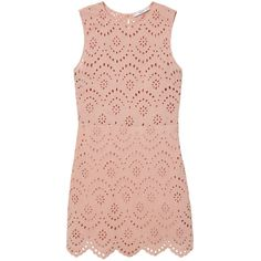 MANGO Embroidered Cotton Dress ($80) ❤ liked on Polyvore featuring dresses, cotton day dresses, pink dress, embroidery dress, mango dresses and embroidered dress