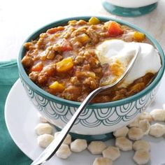 Pumpkin Chili. Added a drained can of Great Northern Beans.  Recipe as written is a little bland - add more chili seasoning or cinnamon & brown sugar or salt.  Very filling & yummy then.  Toddlers LOVED it.