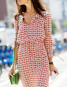 Day 3 via @WhoWhatWear ~ Red, White, and Black printed dress