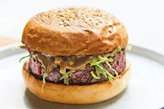 Salvation Burger: The patty for the veggie burger is made with beets, lentils, and vermicelli noodles, and topped with black-garlic aioli and shredded lettuce.