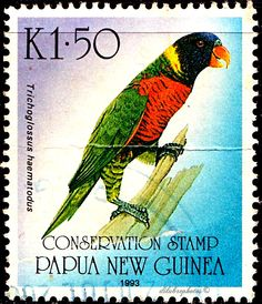 Papua New Guinea.  PARROT BIRDS CONSERVATION STAMP.  Issued 1993. 1.50. /ldb.