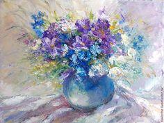 Купить Натюрморт с цветами . Современная живопись маслом. Для дома и офиса. - букет, натюрморт, цветы