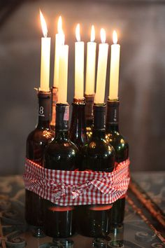 DIY wine bottle centerpiece idea.