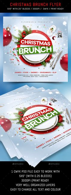 Christmas Brunch Flyer by Flyermania   GraphicRiver Christmas Flyer, Christmas Brunch, Club Parties, Very Well, Caprese Salad, Graphic Design, Party, Food, Essen
