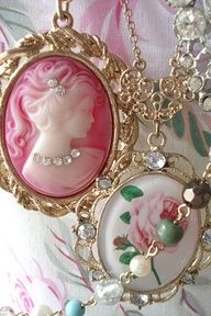 lovely in pink- love the pink cameo with small rhinestones