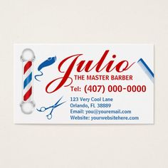 Barber Business Card Design Customizable Pole