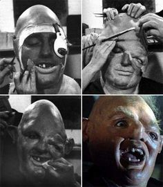 John Matuszak getting his make-up done to be Sloth on the set of The Goonies…