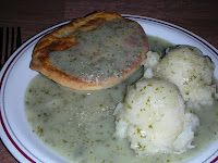 This is how traditional English pie and mash look!  Tasting is comfort food extraordinaire.