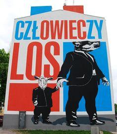 Warszawa - warszawskie murale - Mural Człowieczy los