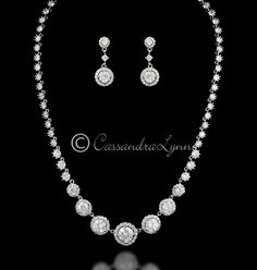 Round Pave Cz Wedding Jewelry Set Silver Gold Or Rose Pinterest Sets And Rounding