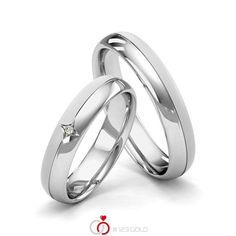 Paar Trauringe/Eheringe von Merii in Weißgold 585/- Oberfläche: poliert, längsmatt mit zus. 0,01 ct. Brillant tw, si (Produkt 1 mit Steinbesatz, Produkt 2 ohne Steinbesatz) #merii #123gold #trauringe #eheringe #partnerringe #freundschaftsringe #hochzeit #gold #weißgold #14k #585 #poliert #struktur #laengsmatt #stern #brillant #diamant Platinum Wedding Rings, Wedding Ring Bands, Swarovski, Our Wedding, Gold Rings, Wedding Planning, Engagement Rings, Jewelry, Dress