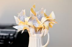 Grey and Yellow Mini Twirlable Pinwheels...Love!