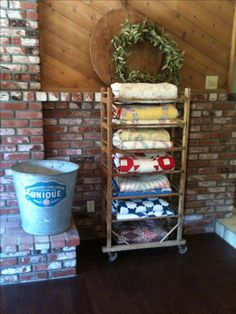 Antique wooden shoe rack~loaded with my Antique French and American Quilts