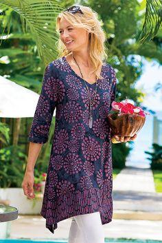 Our light, easy, irresistible - our charming Batik Tunic blends traditional batik technique with a fun retro starburst design.