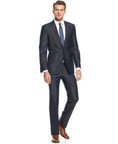 Kenneth Cole Suit Separates, Tan Solid Cotton Slim Fit - Mens