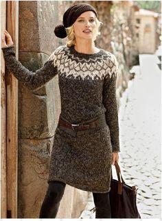 Fashion Friday: Sweater Dresses - I& look like a Scandinavian knitting magazine model, but I kind of dig it. Source by - Winter Sweater Dresses, Sweater Dress Outfit, Fall Winter Outfits, Knit Dress, Autumn Winter Fashion, Dress Outfits, Winter Style, Dresses Dresses, Elegant Dresses