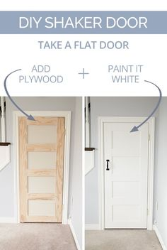 DIY Shaker Door - Take a plain slab door and turn it into a charming-yet-modern shaker door with some plywood, glue, nails, and paint. Wooden Doors, Sliding Doors, Wooden Gates, Timber Gates, Sliding Screen Doors, Pocket Doors
