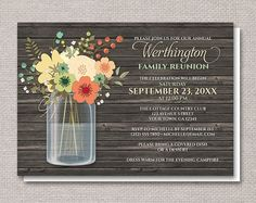 Rustic Floral Wood Mason Jar Family Reunion by ArtisticallyInvited