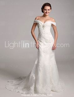 Trumpet/ Mermaid Off-the-shoulder Organza Over Satin Wedding Dress With Removable Chapel Train -
