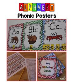 Alphabet Phonics Posters  31 SUPER CUTE alphabet posters in chevron theme for your classroom. Each alphabet posters letter card includes a colorful picture with both upper and lower case letters shown as well as phonetic spellings.