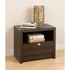 valhalla designer series espresso 1drawer nightstand by prepac