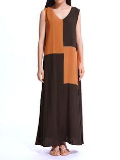 Sale 20% (21.39$) - Casual Vintage Women Sleeveless Patchwork Maxi Tunic Dress