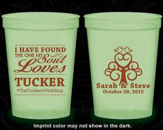 I have found the one my Soul Loves, Wedding Glow Party Cups, Hashtag Wedding, Wedding Love Tree, Glow-in-the-Dark (498)